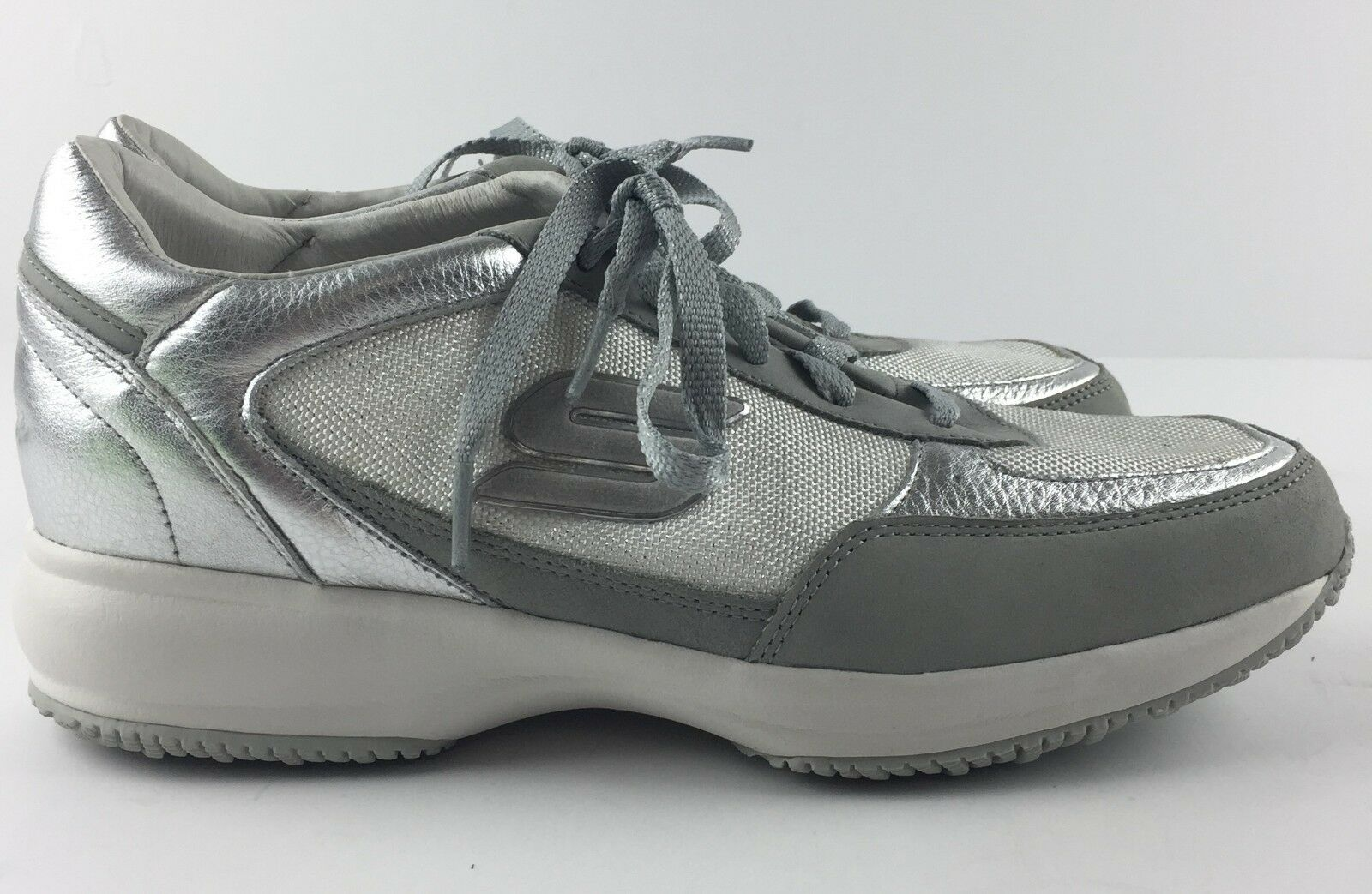 Skechers femmes US 9.5 argent Wedge Fit chaussures Fashion baskets Lace Up 48746
