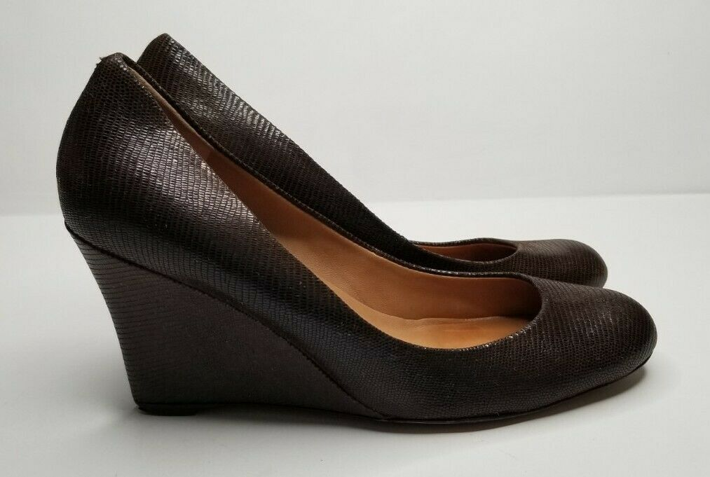 Ann Taylor Brown Leather Croco Embossed Wedge Heel Shoe Size 9.5M