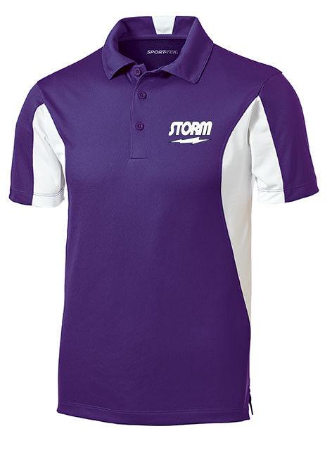 Storm Men's Mix Performance Polo Bowling Shirt Dri-Fit Purple White