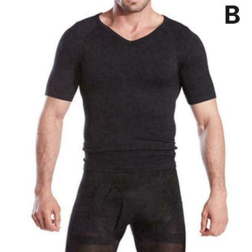 Men/'s Body Shaper Vest Tops Waist Trainer Belly Compression N5A6 T-Shirt P7U4