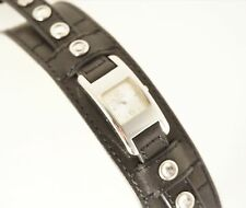 GUESS Woman's G75770L Watch Black Leather Strap Silver Analog Dial