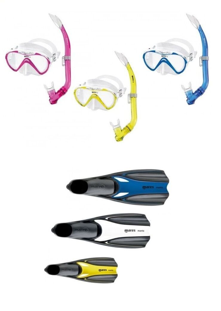 Mares Seahorse Manta Jr.Snorkel Set for Kids Size 27-35 Various Colours
