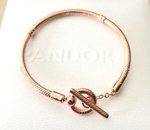 Details about Pandora Rose Moments T-Bar Snake, Chain Bracelet #589087C00  ~Size +Box+Cloth