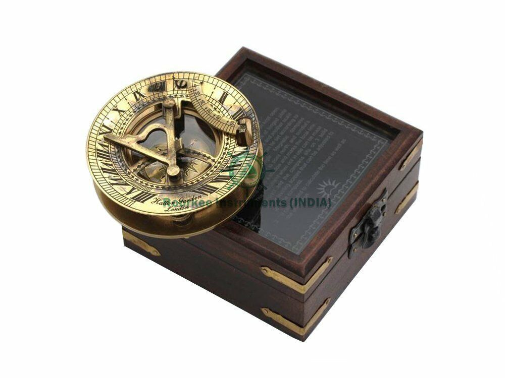 Nautical Brass Sundial Compass With Wood Glass Top Box HATTON GARDEN LONDON