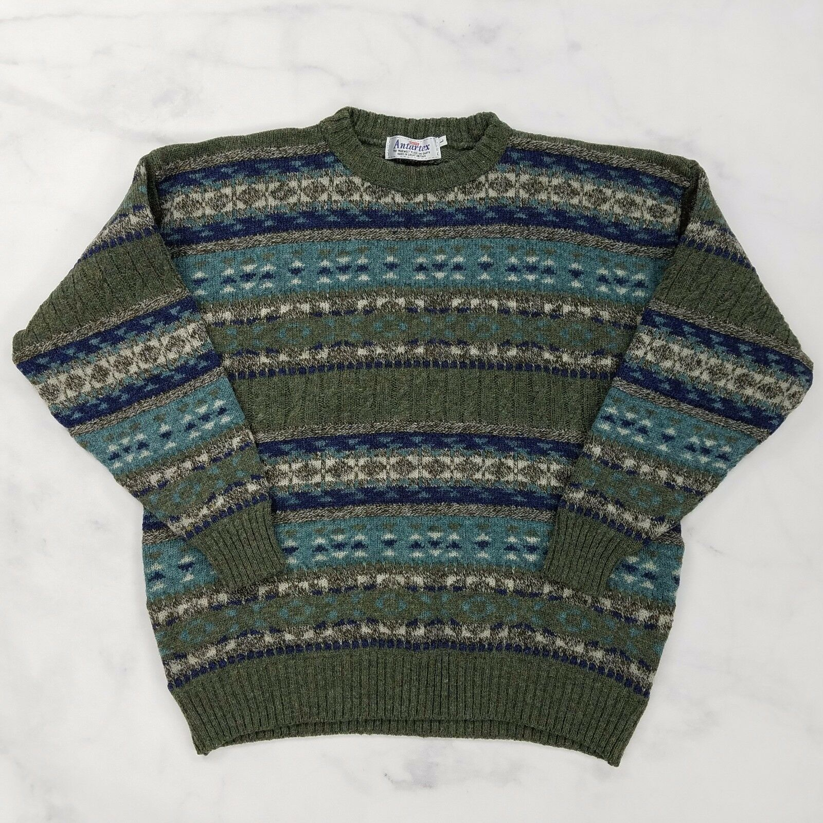 Antartex Shetland Wool bluee Green Fair Isle Sweater, Mens Large (Britain Made)
