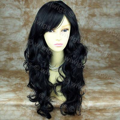Stunning Heat Resistant Long Wavy Jet Black Ladies Wigs From WIWIGS UK