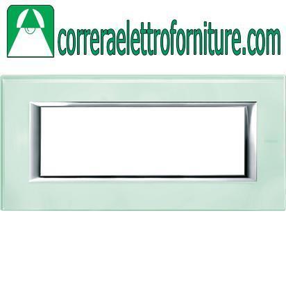 BTICINO AXOLUTE placca 6 moduli posti vetro Kristall HA4806VKA