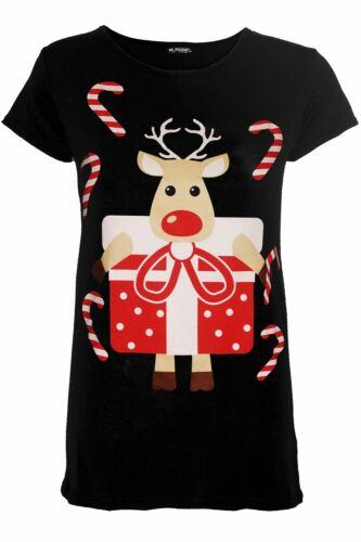 Girls Kids Glitter Nose Reindeer Face Christmas Xmas Long Sleeve Tee T Shirt Top