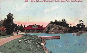 BF36011-san-francisco-golden-gate-park-stow-lake-and-boat-USA-front-back-scan
