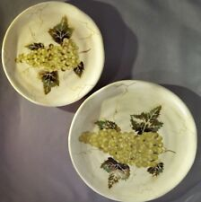 Cabernet Collection 2 Round Plates Hand Painted Tabletops Unlimited White Grape