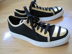 NEW-ALEJANDRO-INGELMO-BLACK-CANVAS-GOLD-LEATHER-SNEAKERS-SHOE-SIZE-9M