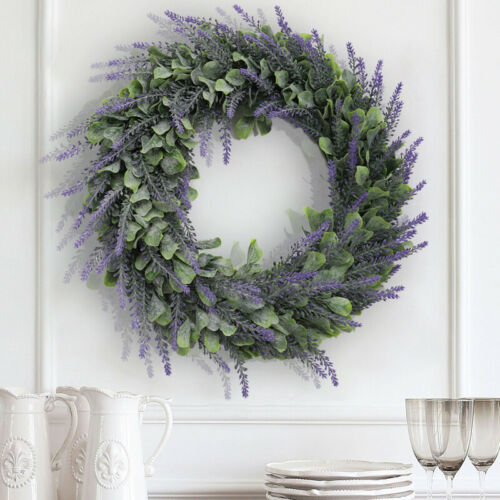 Topiary Wreath Large Fake Eucalyptus Leaf Door Hanging Lavender Garland Decor UK