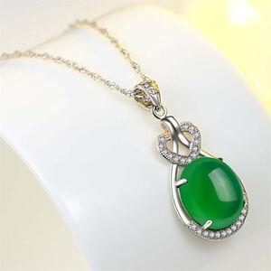 Natural-Emerald-amp-Diamond-Wedding-Party-Pendant-Silver-Green-Charming-Gemstone-C