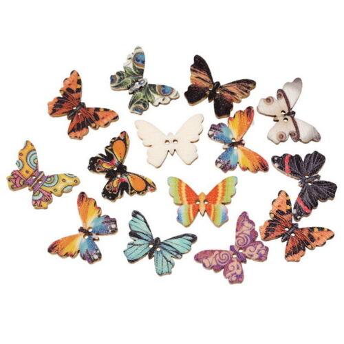 LP:300 Mix Natur Holzknöpfe 2 Löcher Schmetterling Patchwork Motivknöpfe 25x18mm