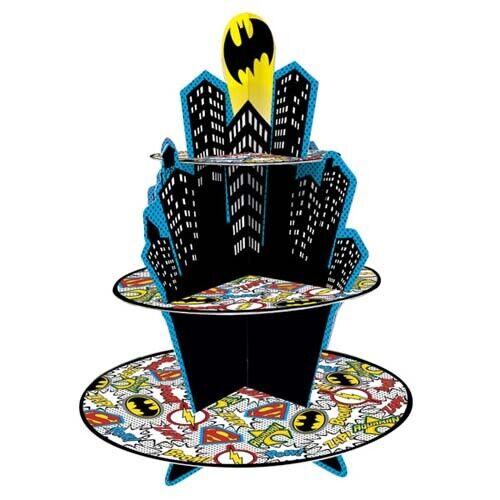 JUSTICE LEAGUE Heroes Unite 3-TIERED CUPCAKE STAND ~ Birthday Party Table Batman