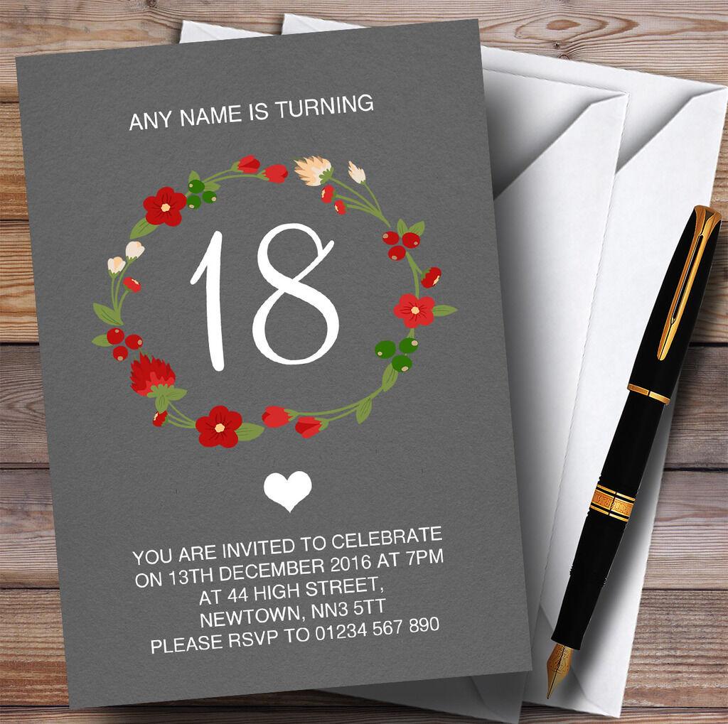 rojo Floral Corona gris Rústico 18th Personalizado Invitaciones Fiesta De Cumpleaños