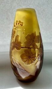 Emile-Galle-French-Art-Glass-Vase-Gold-Chocolate-Floral-Pattern-SALE-20-OFF