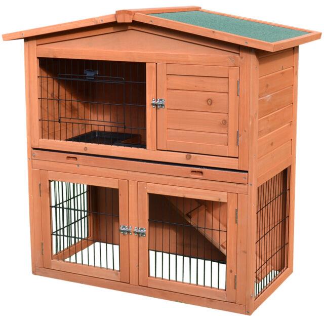 Vidaxl Outdoor Rabbit Hutch Small Animal House Pet Cage 3 Doors Wood House For Sale Online Ebay
