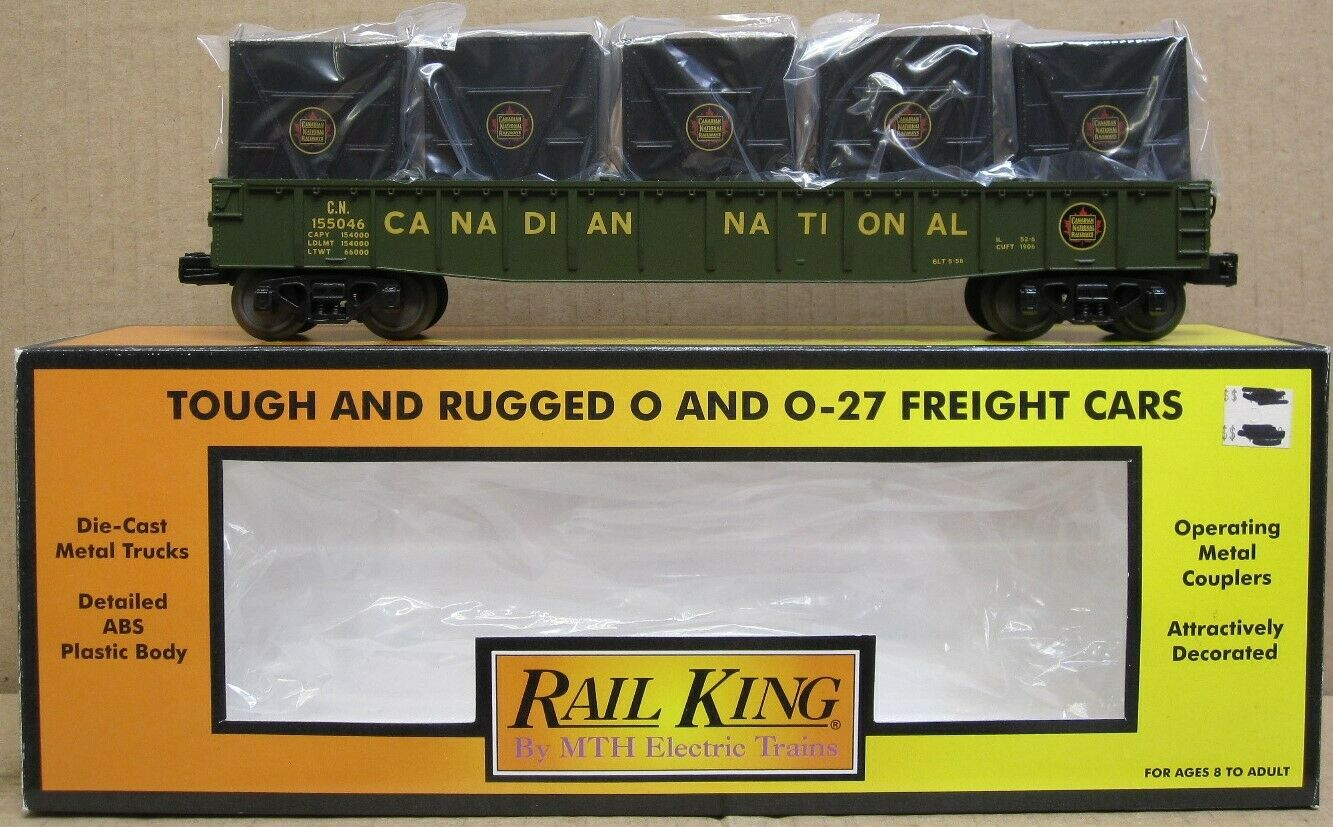 MTH Railking 30-72031 CN Canadian National Gondola w LCL Containers O-Gauge NIB