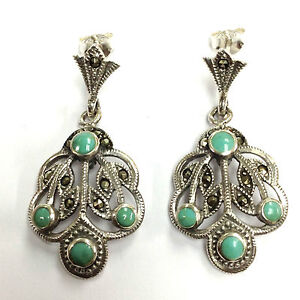 ART-NOUVEAU-STYLE-TURQUOISE-MARCASITE-EARRINGS-925-STERLING-SILVER