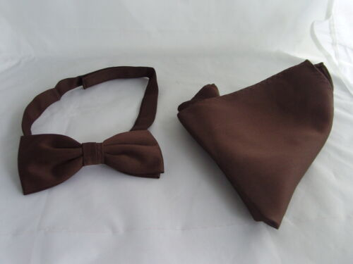 BROWN Polyester Pre-tied Bow tie and Hankie Set/> in 60 Colours/>P/&P 2UK/>1st Class