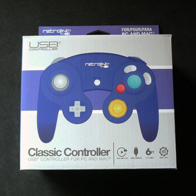 New RetroLink RetroBit Gamecube GC for to PC Mac USB Controller Gamepad (Purple)