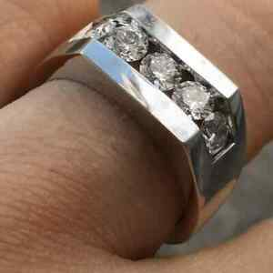 Sparkling Single Cut 2.00CT Five Cubic Zirconia Stone In 925 Silver Men's Ring