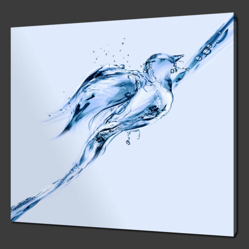 ABSTRACT BLUE WATER BIRD CANVAS PRINT PICTURE READY TO HANG