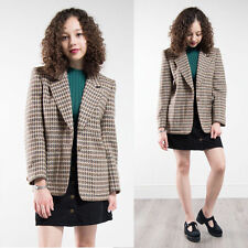 WOMENS VINTAGE TWEED STYLE CHECK PLAID BLAZER JACKET 80'S BROWN EQUESTRIAN 10