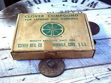 Vintage Can Clover Valve Grinding Compound Tin NOS Oil Gas 9 cans with box