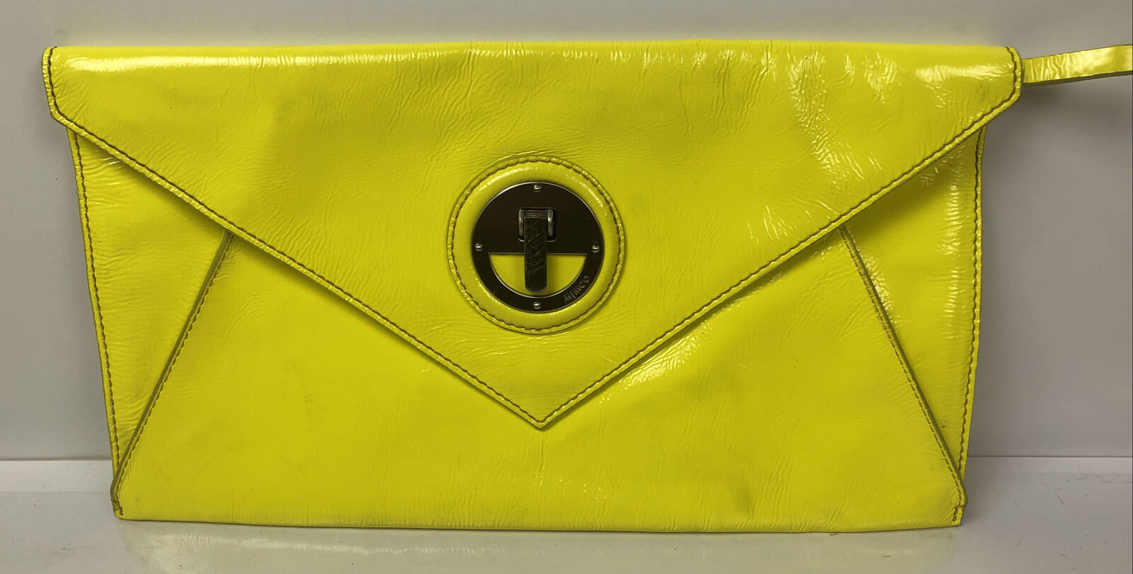 M723 Mimco clutch - Purse Yellow Leather In Good Condition
