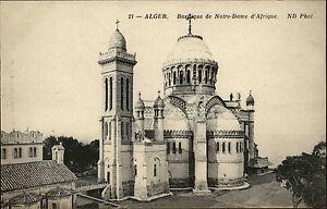 Algier-Alger-Algerien-Afrika-Africa-Postkarte-1910-Notre-Dame-d-039-Afrique-Kirche