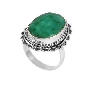 Emerald-Solid-925-Sterling-Silver-Ring-Handmade-Gemstone-Ring-Size-8-5-R33