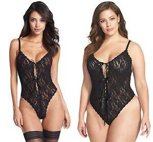 Black-Lace-Teddy-Lingerie-Ladies-Open-Gusset-Floral-Hollow-Out-8-10-12-14-16-18