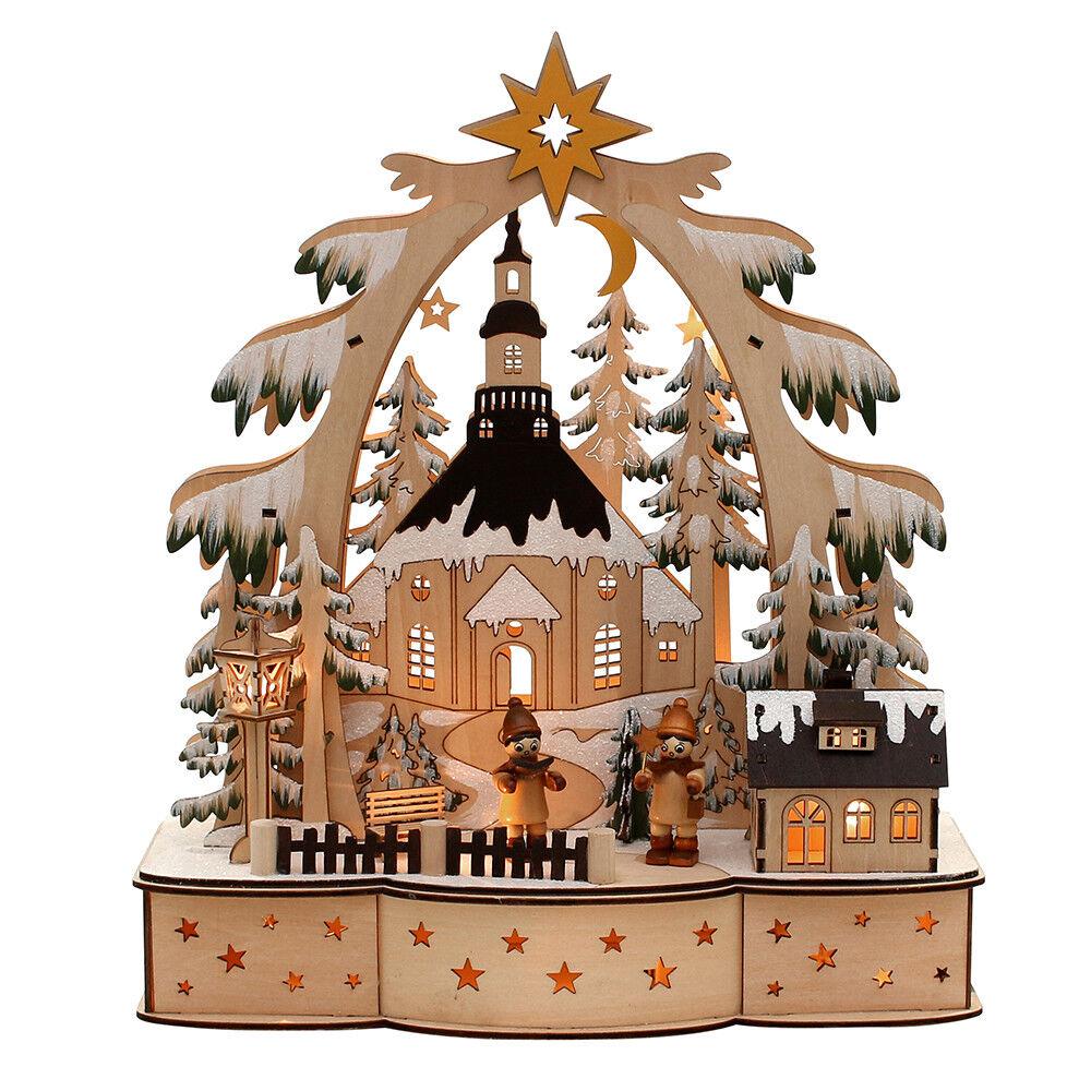 3d Lumières DEL Arc Schwibbogen Lumières dentelle avec 2 personnages hiver 35 cm 10348