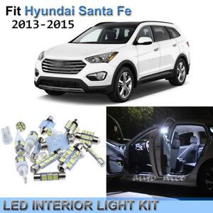 10x Xenon White LED Interior Lights Kit For 2013 - 2015 Hyundai Santa Fe