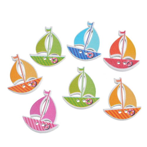 30PCs Multicolor Stripe Sailboat 2-Hole Wooden Buttons Scrapbooking Sewing