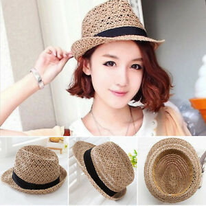 Fashion Summer Beach Sun Straw Hat Women Mens Fedora Wide Brim ... 610b234358c