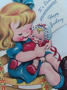 1949-Vtg-GIRL-w-Baby-DOLL-Dear-GRANDDAUGHTER-Double-Side-BIRTHDAY-GREETING-CARD