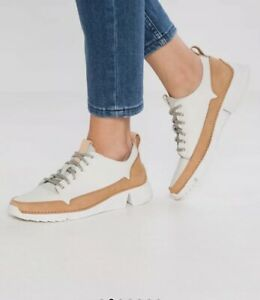 most desirable fashion super service most fashionable Details about Clarks Women Tri -Spark Lace-Up Trainers In White - Size Uk  8/42