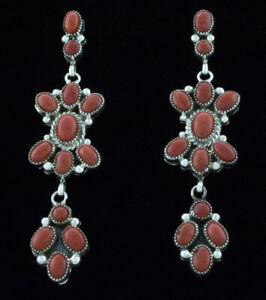 Coral Chandelier Earrings By Navajo Artist Hubert Etsitty Ebay