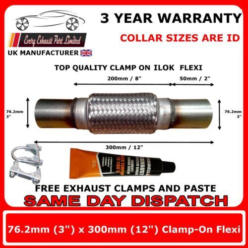 """3/"""" x 12/"""" POLLICI IN ACCIAIO INOX FLEX SCARICO Flexi Tubo Kit di riparazione 76mm x 300mm"""