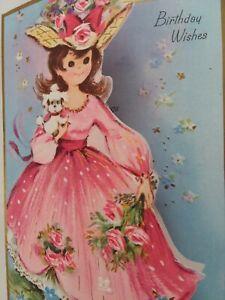 UNUSED-Vtg-LADY-Pretty-DRESS-Tiny-POODLE-Embossed-Die-Cut-BIRTHDAY-GREETING-CARD