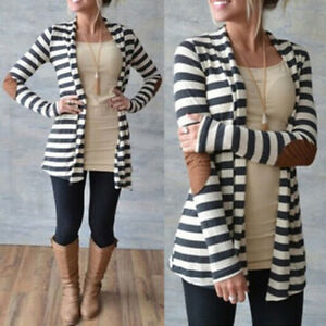 NUOVO-Donna-Casual-Manica-Lunga-A-Righe-Cardigan-Patchwork-Outwear-Maglione-ma