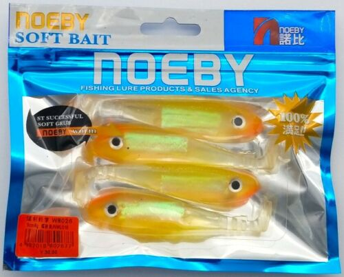 Noeby Paddle Tail Swim Bait Freshwater//saltwater orange//jaune Silver Speck