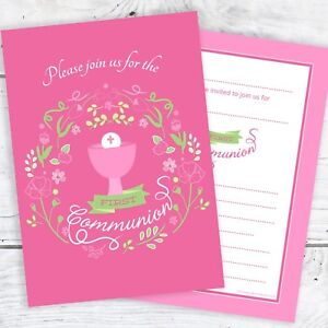 Image is loading First-Holy-Communion-Invitations-Girls-Pink-Design-Ready-