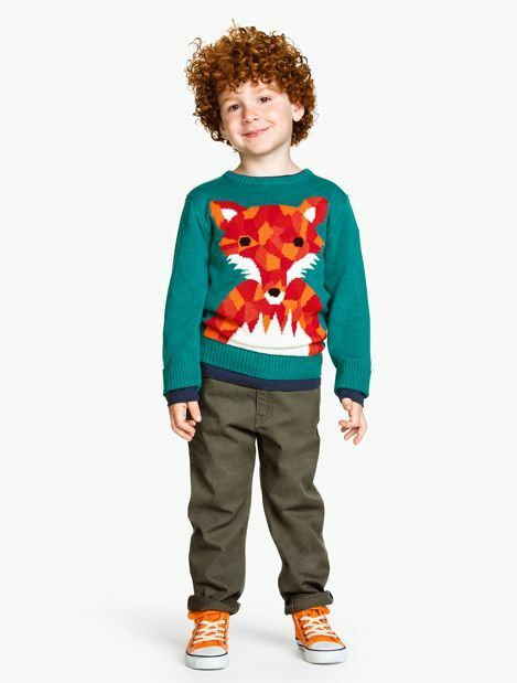 H&M Kids Turquoise Jaquard Knit Fox Jumper With Tail On Reverse Age 2-4 years