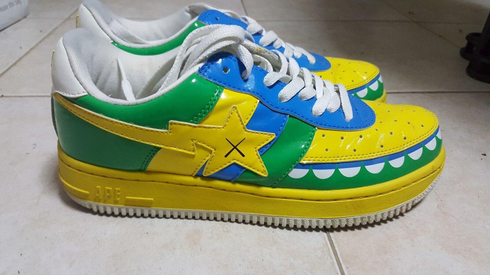 Bape Kaws Chompers Sneakers Size 9.5 Yellow Green Blue OG A Bathing Ape 2006 BOX
