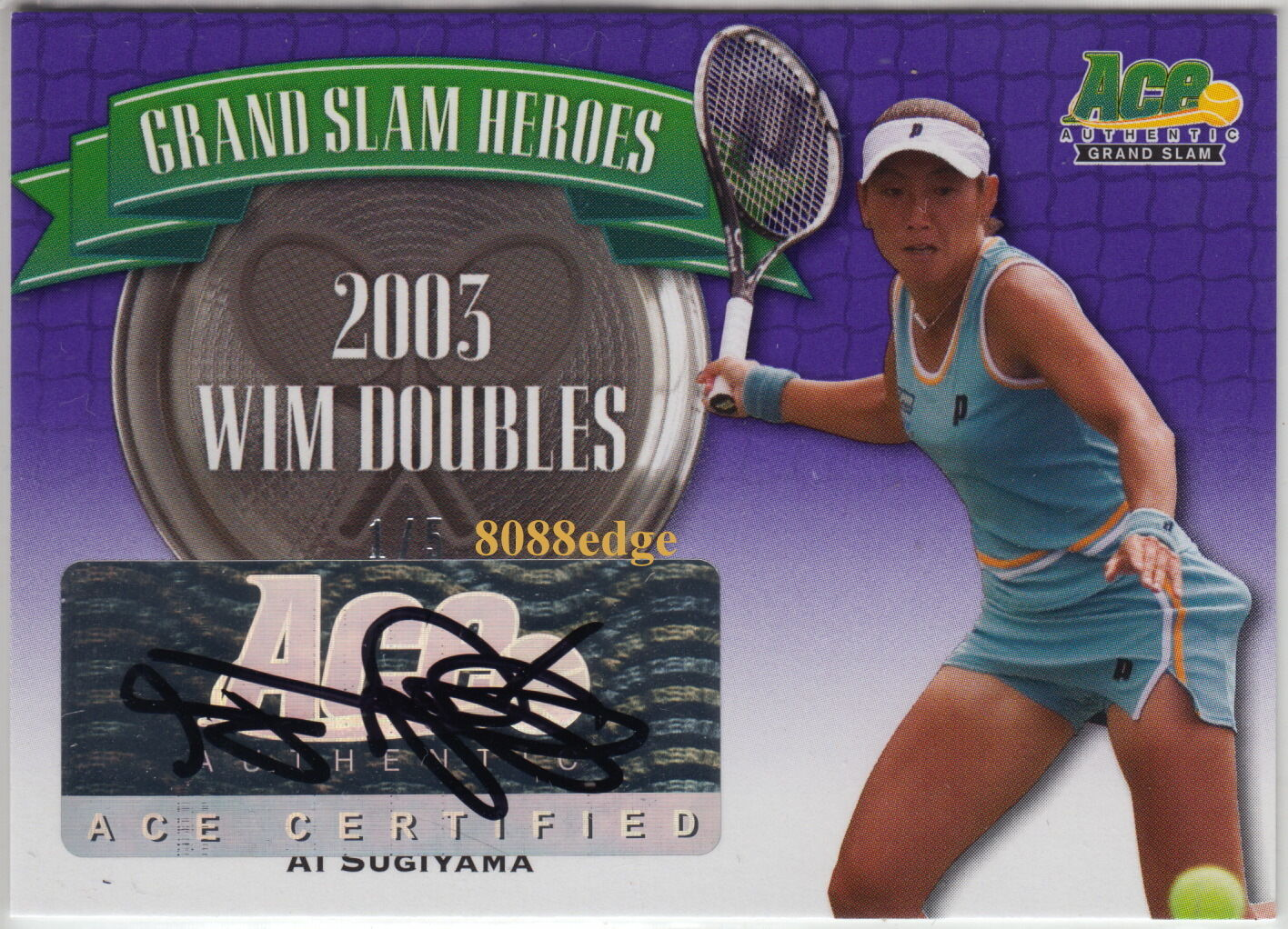 2013 ACE GRAND SLAM HEROES AUTO AI SUGIYAMA  5 AUTOGRAPH WORLD RANK DOUBLES