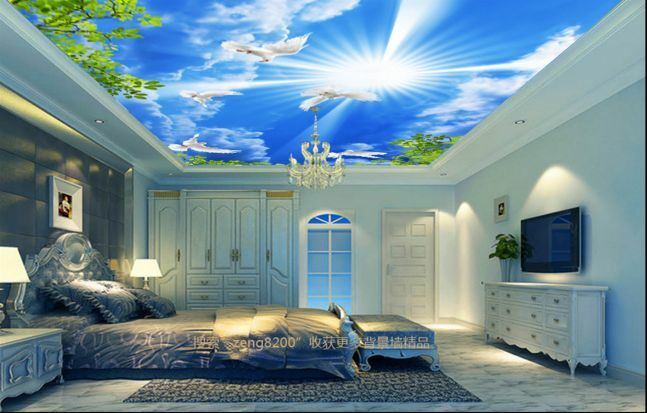 3D Sun Dove Leaf Ceiling WallPaper Murals Wall Print Decal Deco AJ WALLPAPER GB